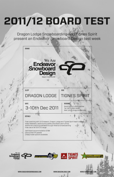 Endeavor Snowboard Design x Dragon Lodge Test Week. 3-10th Dec.