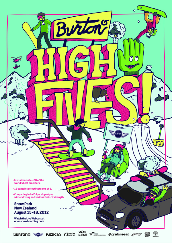Live snowboarding for the Burton High Fives in NZ