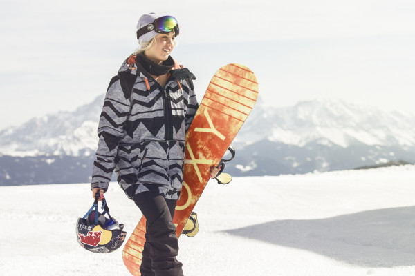 Aimee Fuller relaxes during a training session at the Absolut Park in Flachauwinkl, Austria on April 10th, 2015