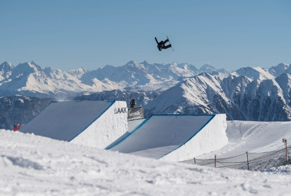 Max Parrot leads the Canadian charge to win the Laax Open Slopestyle. Photo: Marcel Lämmerhirt